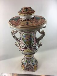 Vintage Majolica Italy Floral Urn W/handles Lamp Base -handpainted And Numbered