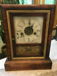 Antique Early Mantel/shelf Wooden Ansonia Clock 1800s From Connecticut