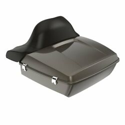 River Rock Gray Chopped Tour Pack Wrap-around Backrest F/ 97-20 Harley Touring