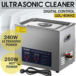 Industry Heated Digital 10l Stainless Steel Ultrasonic Cleaner Heater W/timer