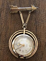 Antique Ladies Penned Chase Bulova Lapel Watch 10k Rolled Gold Plate