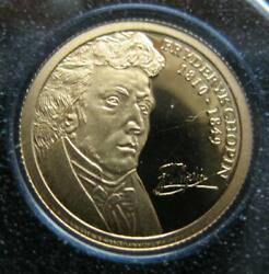 Andorra 2 Diners 2009 Gold Proof Coin Fryderyk Chopin 160th Anniversary Of Death