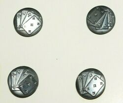 Vintage Art Deco Glass Playing Card Buttons 6 Modernism Couture 1930 Mint
