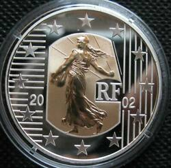 France 5 Euro 2002 Silver Proof Coin The Seed Sower On Gold Insert