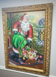 Christopher Radko Collection Large Oil Painting Santa Magical Midnight Delivery