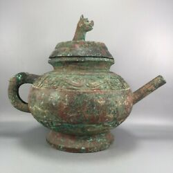 14.9 Asian Chinese Old Antique Xizhou Dynasty Exquisite Animal Cover Pot Jar