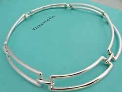 And Co. Sterling Silver Rectangle Chain Link Collar Choker Necklace In Box