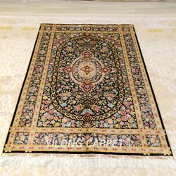 Yilong 4'x6' Handknotted Silk Carpet Family Room Interior Luxury Area Rug Z399a