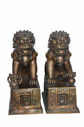 Pair Of Foo Dogs Bronze Statues - Size 20l X 10w X 23h. 40 Lb Each