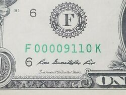 Wow 911 1 Dollar Bill Note Super Low Serial Number Nice Condition