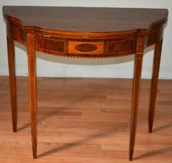 1910s Antique English Sheraton Mahogany Banded Inlaid Console Table / Game Table
