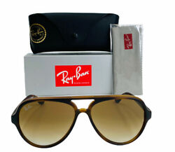 Ray Ban CATS 5000 Sunglasses RB4125 710S 51 Tortoise Frame Brown Gradient Lens $89.94