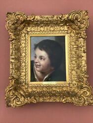 Charles Amedee Philippe Van Loo Oil Painting Young Child 18th C. Great Frame