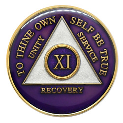 11 Year Aa Coin Purple Alcoholics Anonymous Sobriety Chip Recovery Medallion