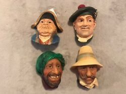 Lot Of 4 Vintage Bossons Chalkware Head . All Marked Bosons Made In England