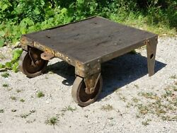 Victorian Antique 1890and039s Industrial Railroad Iron / Steel Cart W/ Wood Planks Wi