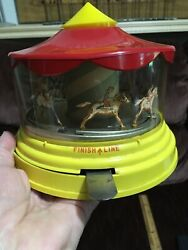 Vintage Merry Go Round Finish Line Old Carousel Race Horses Toy Rare