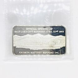 Johnson Matthey Ultra Rare 1 Oz .999 Silver Official Opening Slc Refinery 1983