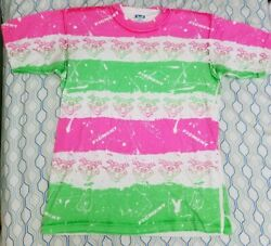 Vintage 80s Disney Figment All Over Print T Shirt Dragon Green Pink Neon Large