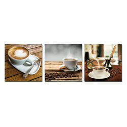 3 Panels Modern Kitchen Wall Art Decor Coffee Canvas Print Painting Dining Room
