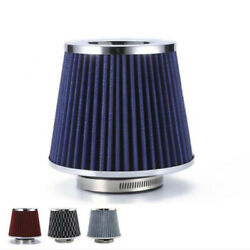 Blue 76mm Universal Car Auto Air Intake Filter High Flow Round Cone Cold