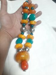 Antique Genuine African Amber With Touriquse Stone Handmade Necklace Traditional