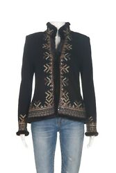 St. John Couture Black Knit Jacket 4 Embroidered Fur Trim Coat Small Blazer Top