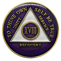 18 Year Aa Coin Purple Alcoholics Anonymous Sobriety Chip Recovery Medallion
