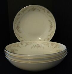 Royal Doulton Diana H5079 English Fine Bone China Coupe Soup Cereal Bowl Set 4