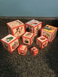Set Of 8 Vintage Stacking Nesting Toy Wood Boxes With Pictures