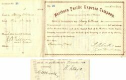 Northern Pacific Express Company Issued To And Signed By Henry Villard, T.f. Oak