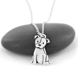 STAFFIE DOG PENDANT WITH 20quot; STAINLESS STEEL NECKLACE STAFFORDSHIRE BULL TERRIER