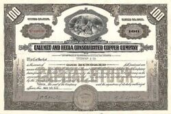 Calumet And Hecla Consolidated Copper Co. - Mining Stock Certificate