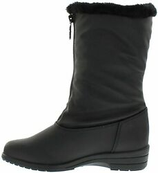 Totes Women#x27;s Nicole Black Snow Boot Waterproof Mid Calf Soft Sole Zipper US 8 $56.59