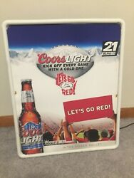 Coors Light Beer Let's Go Red Plastic Lighted Sign