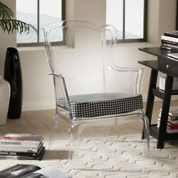 Tasha Retro Modern Style Clear Polycarbonate Accent Chair With Patterned Cushion