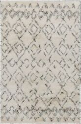 Moroccan Beni Ourian Handmade Shag Ivory Gray Wool Area Rug 10and039 X 14and039