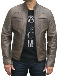 Mens Fashions Jacket Antique Olive Leather Authentic Chest Pockets Casual Zip Up