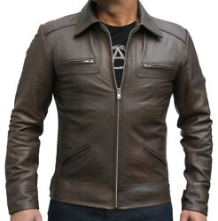 Mens Fashion Antique Olive Leather Jacket With Zipper Chest Pockets In All Sizes