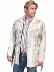 Mens White Western Wear Suede Leather Cowboy Style Fringe American Leather Coat