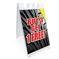 A-frame Buy 3 Tires Get 1 Free Sign Double Sided Graphics