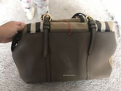 Burberry mason check Canvas And Brown Leather Diaper Bag $439.00