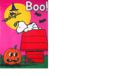 Peanuts Boo Large Halloween Flag With Snoopy And Woodstock - New