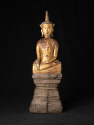 Antique Wooden Laotian Buddha From Laos, 18th Century