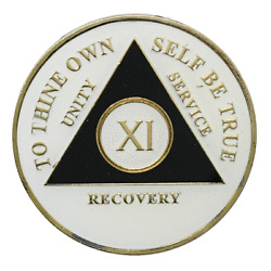 11 Year Aa Coin Glow In The Dark Alcoholics Anonymous Medallion Sobriety Chip