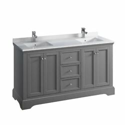 Windsor 60 Traditional Double Bathroom Cabinet W/ Top And Sinks, Fcb2460-cwh-u