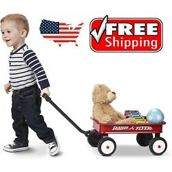 Kids Wagon Red Cart Vintage Pull Radio Flyer Classic Buggy Small Children Decor