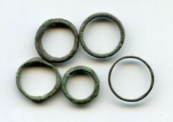 Lot Of 5 Ancient Celtic Bronze Ring Money Pieces From Hungary Ca.800-500 Bc