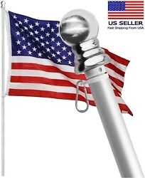 Tangle Free Spinning Flag Pole Aluminum 6ft Two Piece Design Durable Rust Free