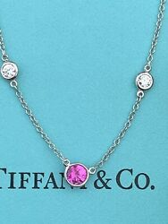 And Co Platinum Elsa Peretti Sapphire Diamond By The Yard Necklace .46 Tcw